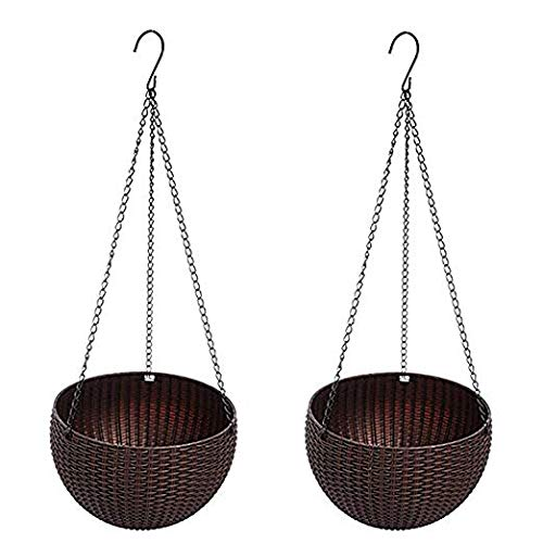 Hanging Basket Rattan Plastic Flower Pot Round Resin Garden Hanging Planter for Indoor Outdoor Plants,2 Pack Brown Small Size (6.5in x (Rattan Hanging Basket)