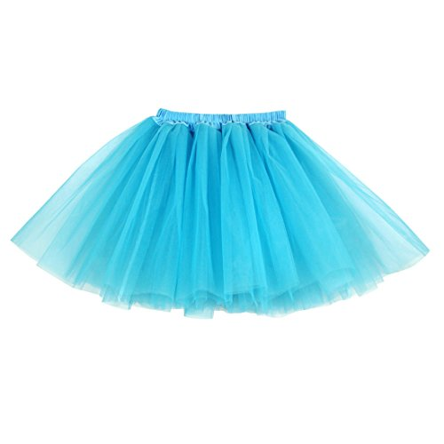 TRADERPLUS Women's Vintage Petticoat Tutu Ballet Bubble Skirt Party Occasion Accessory (Blue)