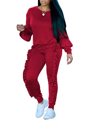 FOUNDO Tracksuit Sets For Women Ruffles Top and Pants Casual Sport Sweatshirts Red XL