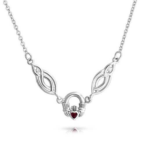 Garnet Claddagh Pendant (Celtic Knot Garnet Claddagh Pendant Sterling Silver Necklace 16 Inches)