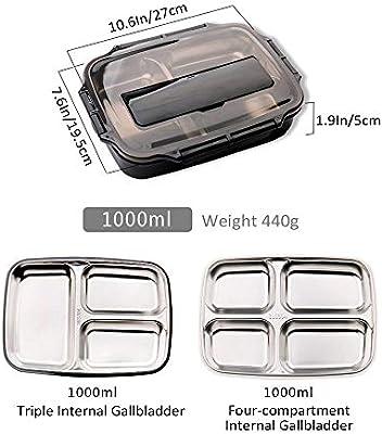 para ni/ños y adultos caja de bocadillos de acero inoxidable con vajilla Womdee 1000ml Caja de almuerzo Bento con 3 compartimentos Caja fuerte de microondas lavavajillas y congelador