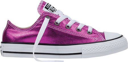 6ff82ce12884 Image Unavailable. Image not available for. Colour  Converse Girls  Chuck  Taylor All Star Low Metallic Sneaker Magenta Glow Black White