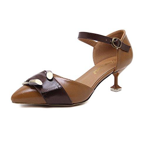 H&W Mujer Micro Cuero Punta Sandalias Zapatos Kitten Tacones 5CM Con Metal Hebilla Marrón