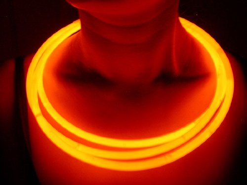"""Glow Sticks Bulk Wholesale Necklaces, 100 22"""" Orange Glow Stick Necklaces +100 FREE Glow Bracelets! Bright Color, Glow 8-12 Hrs, Connector Pre-attached(Save Time), Sturdy Packaging, GlowWithUs Brand"""