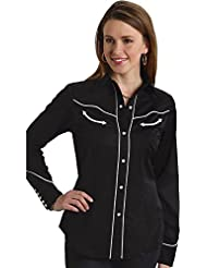 Roper Womens Americana Longhorn Western Shirt - 03-050-0185-0040 BL