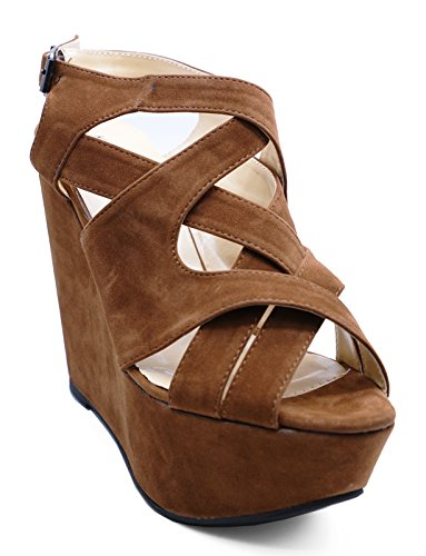 Ladies Brown Strappy Peeptoe Wedge High Heel Platform Sandals Shoes Sizes 3-7 yXnPGPMfM0