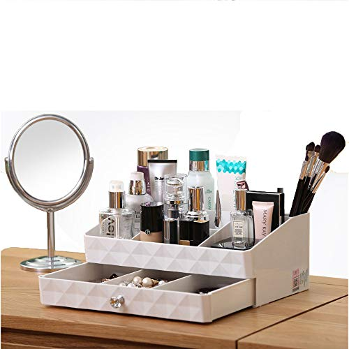 Cosmetic Organizer Tray in White Makeup Holder Display Storage Box with Jewelry Drawer for Bathroom Vanity and Dresser Countertop by ZM-YOUTOO