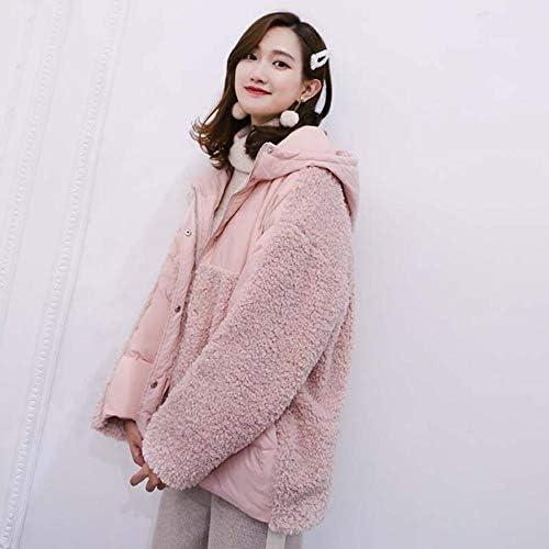 A-gavvzq Lambskin Down Jacket with Hood for Women Winter Baggy Down Jacket Warm Elegant Long-Sleeved Girl Coat Pink