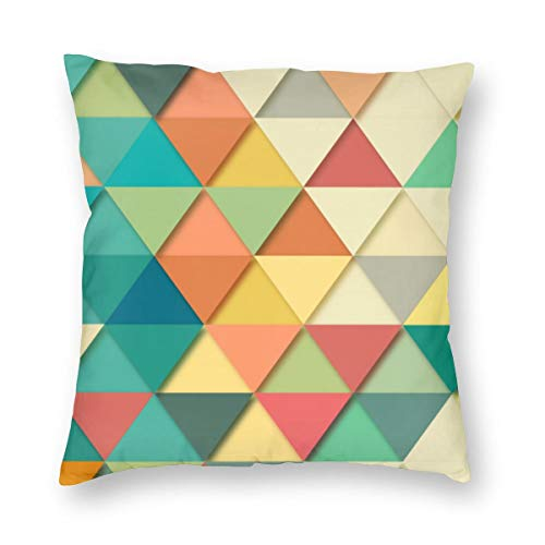 Osvbs Geometric Triangle Wallpaper Pattern Graphic Tile Square Shape Mosaic Customized Multi-Code Creative Home Double-Sided Printed Pillowcase Without Pillow Core with Invisible Zipper 12