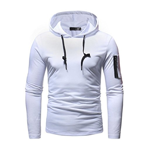 Mens Fashion Personality Long Sleeve Hooded Sweatshirt Clearance - vermers Mens Zipper Patchwork Hoodie Outwear Tops(XL, White) by vermers