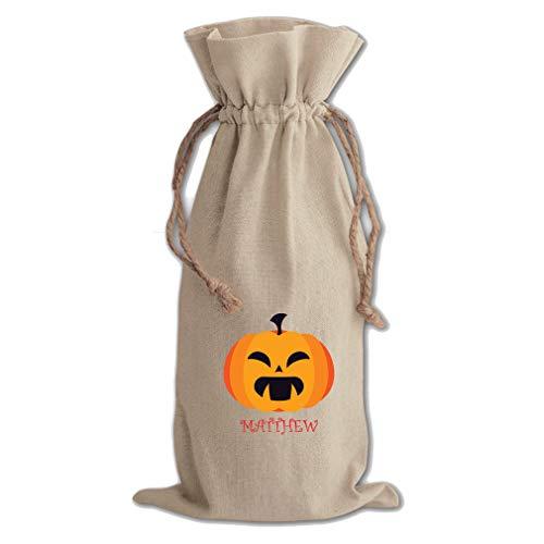 Custom Text Pumpkin Halloween Spooky Cotton Canvas Wine Bag -