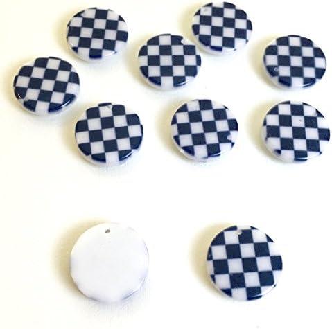 市松模様 4個 樹脂製チャーム ラウンド アクセサリーパーツ ハンドメイド 手芸材料