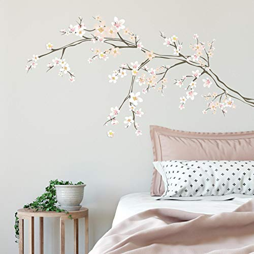 (RoomMates Cherry Blossom Branch Peel And Stick Giant with 3D Embellishments)