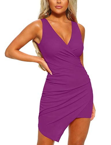 Mizoci Women's Casual Sleeveless Ruched Cocktail Party Dresses Bodycon Mini Sexy Club Dress,Large,Purple (Dresses Party Night)