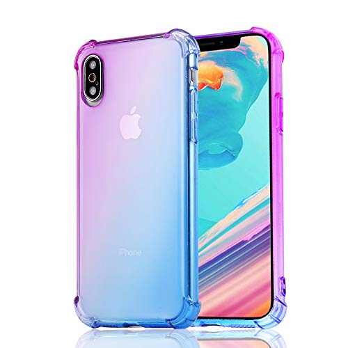 SUPVIN Gradient Case for iPhone Xs Max Ultra Slim Clear Soft Bumper Case Flexible TPU Silicone Colourful Back Cover Protective Girly Phone Case for iPhone Xs Max 6.5 inch 2018 (Purple)