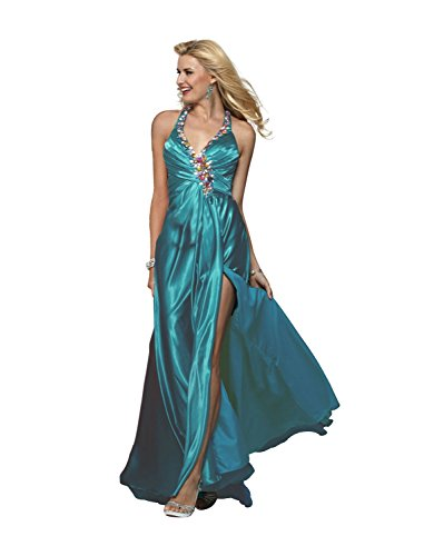 - Clarisse Embellished Halter Charmeuse Prom Gown 2154, Teal, 14