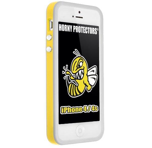 Horny Protectors® Schutzhülle Cover Case Bumper für Apple iPhone 4s & 4 Gelb Grau TPU + Silikon