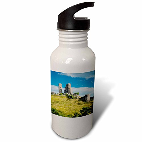 3dRose Danita Delimont - Castles - Ruins of Corfe Castle near Wareham, Isle of Purbeck, Dorset, England - Flip Straw 21oz Water Bottle (wb_228041_2) - Corfe Castle