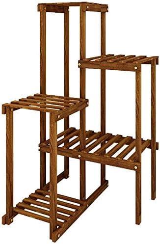 Planta de soporte de varias filas de jardín Escaleras Macetas sostenedor de la exhibición de almacenamiento estante de la esquina Bella Jardinera Soporte materiales de montaje de madera al aire libre: Amazon.es: