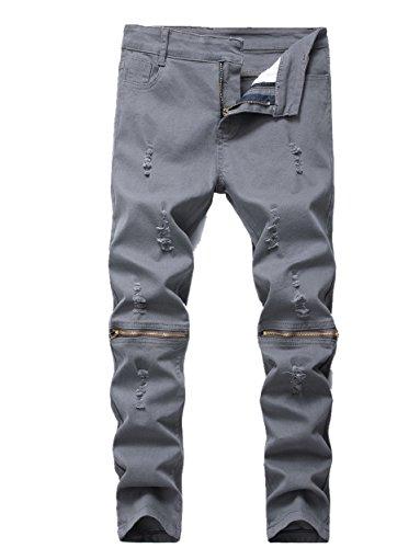 Boy's Ripped Skinny Jeans Destroyed Stretch Slim Distressed Pants Dark Grey ()