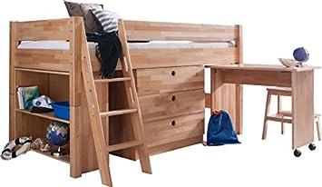 Lit combiné pour enfant 90x200 en bois massif coloris hêtre: amazon