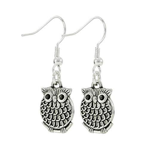 (Owl Dangle Earrings, Small Silver Tone Bird Jewelry, Handmade Women's Earring Set)