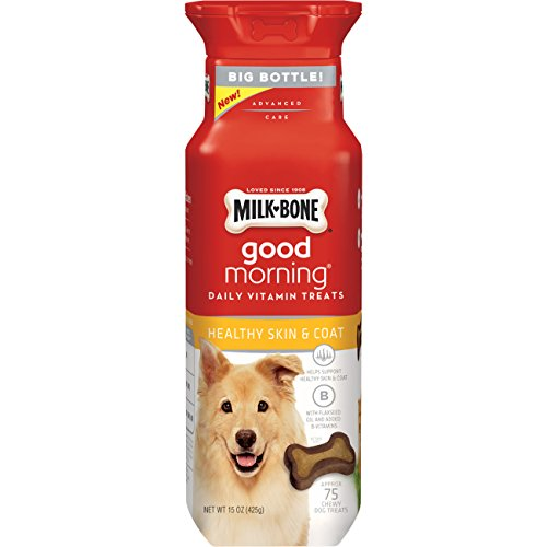Milk-Bone Good Morning Daily Vitamin Dog Treats, Healthy Skin And Coat, 15-Ounce Bottle (Pack Of 4)