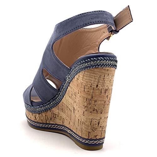 Corcho Sandalias Classic retro Angkorly Mujer Mules Con Moda Azul Paja Vendimia Cm 12 Plataforma Zapatillas AHxqPaqw