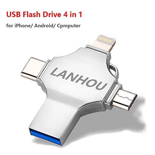 128GB USB Flash Drive 3.0 for iPhone, 4 in 1 Memory Stick Compatible with ipad iOS Android MAC and Computer (Silver)