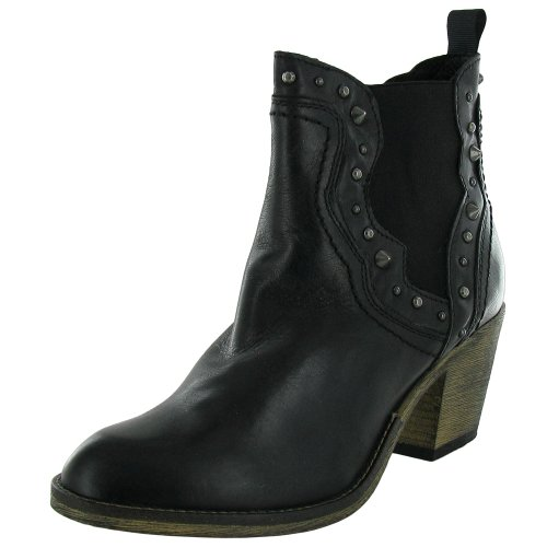 Western Concrete (Steve Madden Womens Concrete Zip Western Ankle Boot Shoe, Black Leather, US 9)