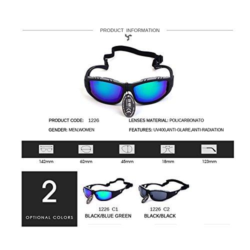 Polarizadas Azul y Gafas Pesca Libre cuerda Deportivas Unisex Conducción Aire una Sol Deporte Ciclismo Esquiar Con de UV400 qTXSw5vw