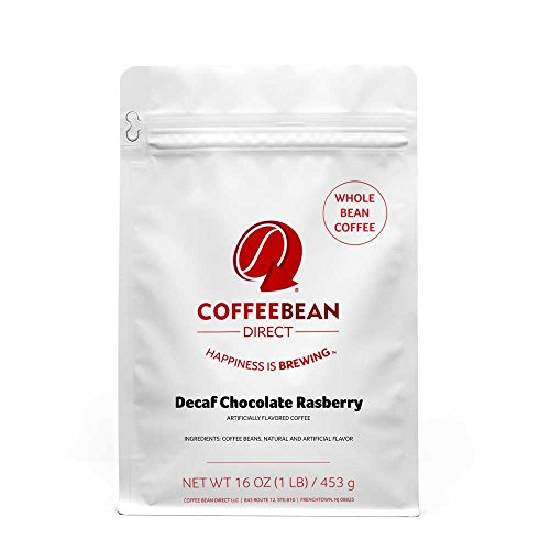 Coffee Bean Direct Decaf Chocolate Raspberry Flavored, Whole Bean Coffee, 16-Ounce Bags (Pack of 3) ()