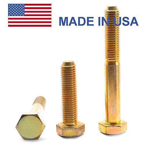 9/16''-18 x 4 (PT) Fine Thread Grade 8 Hex Cap Screw (Bolt) - USA Alloy Steel Yellow Zinc Plated Pk 10 by ASMC Industrial