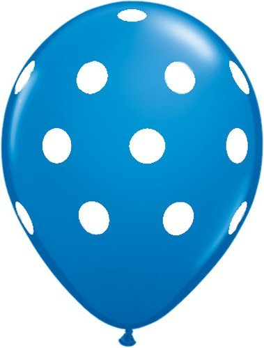Polka Dot Balloons 11inch Premium Sapphire Blue with All-Over Print White Dots - Sapphire Dot