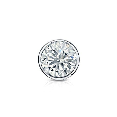 Platinum Bezel-set Round Diamond Men SINGLE STUD Earring - And Studs 1 Si2 Carat H Diamond 2