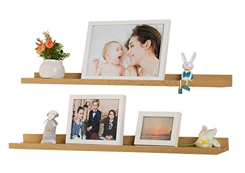 O&K Furniture Set of 2 Picture Display Wall Ledge Shelf, Floating Shelves for Home Decoration (Oak, 31.5