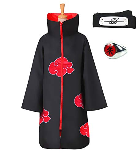 HappyShip 3Pcs Halloween Cosplay Akatsuki Style Cloak Costume with Headband and Ring Itachi Cosplay for Naruto Fans (Large, Cloak with Stand Collar)