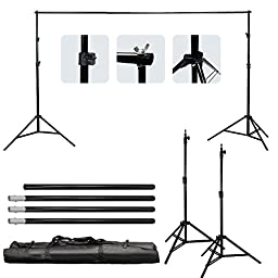 LimoStudio Photo Studio Four Monolight Strobe Flash BOOM Lighting Kit - Studio Flash/Strobe, Light Stands, Barndoor , Background Support System, Muslin Backdrop with Carry Case, AGG400V2