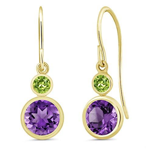 Purple Amethyst Green - 1.64 Ct Round Purple Amethyst Green Peridot 14K Yellow Gold Earrings