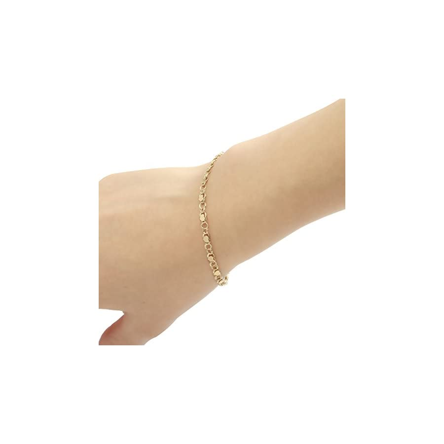 "10k Fine Gold Heart Bracelet and Anklet for Women and Girls, (0.14"")"