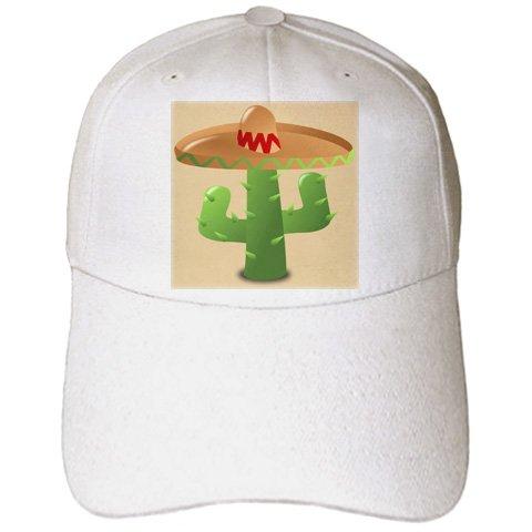 Florene Decorative - Green Cactus With Tan Sombreo - Caps - Adult Baseball Cap (Sombreo Hat)