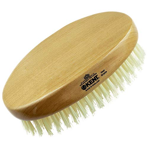 Kent BB Finest Men's Beard Brush - Beechwood Oval-Shaped Palm Grip With Durable and Sophisticated Pure White Boar Bristles Perfect Gift For Men, Unparalleled Craftsmanship, Made In The UK.