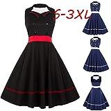 Plus Size Sleeveless College Style Stitching Halter Dress Retro Dress