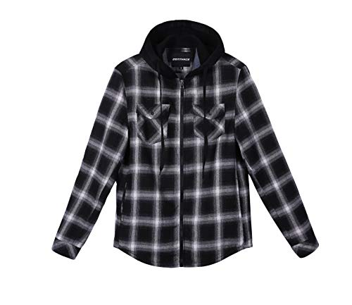 ZENTHACE Mens Thermal Fleece Lined Zip Up Hoodie Plaid Flannel Shirt Jacket Black/White XL