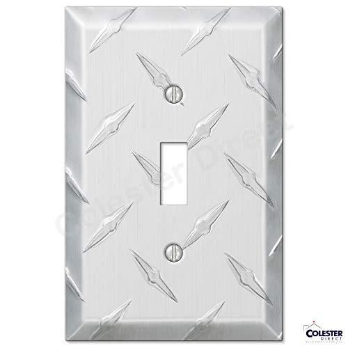 Diamond Plate Aluminum Wall Switch Plate Outlet Cover Toggle Rocker GFI Garage (Toggle-Single) ()