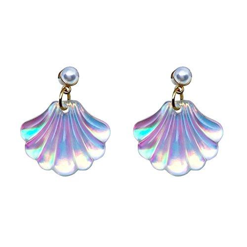 1 Pair Color Change Pearls Sea Shell Stud Earrings Christmas Gift for Children Little - Color Seashell