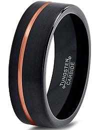 Tungsten Wedding Band Ring 6mm for Men Women Black & 18K Rose Gold Offset Line Pipe Cut Brushed Polished Lifetime Guarantee