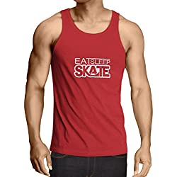Vest Eat Sleep Skate - for skaters, skate longboard, skateboard gifts (Large Red White)