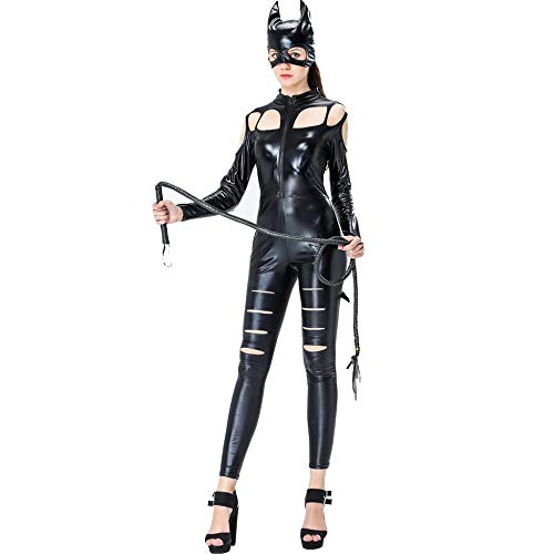 XINYU Adult Women Catsuit Catwoman with Front Zipper Design and Patent Leather Cosplay Nightclub Jumpsuit Halloween Masquerade Ball Party Carnival Valentine's Day Present,Black-OneSize