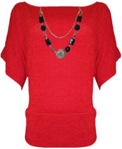 tricot red manches souris 3 en 4 collier plus femmes cavaliers hauts taille nouvelles chauve de 6TfFx7